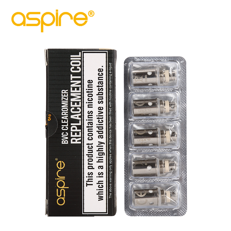 5pcs/lot Aspire BVC Coil 1.6ohm/1.8ohm/1.2ohm Regular BVC Coils For Electronic Cigarette Spryte Kit CE5 ET K1 Evaporator Coil