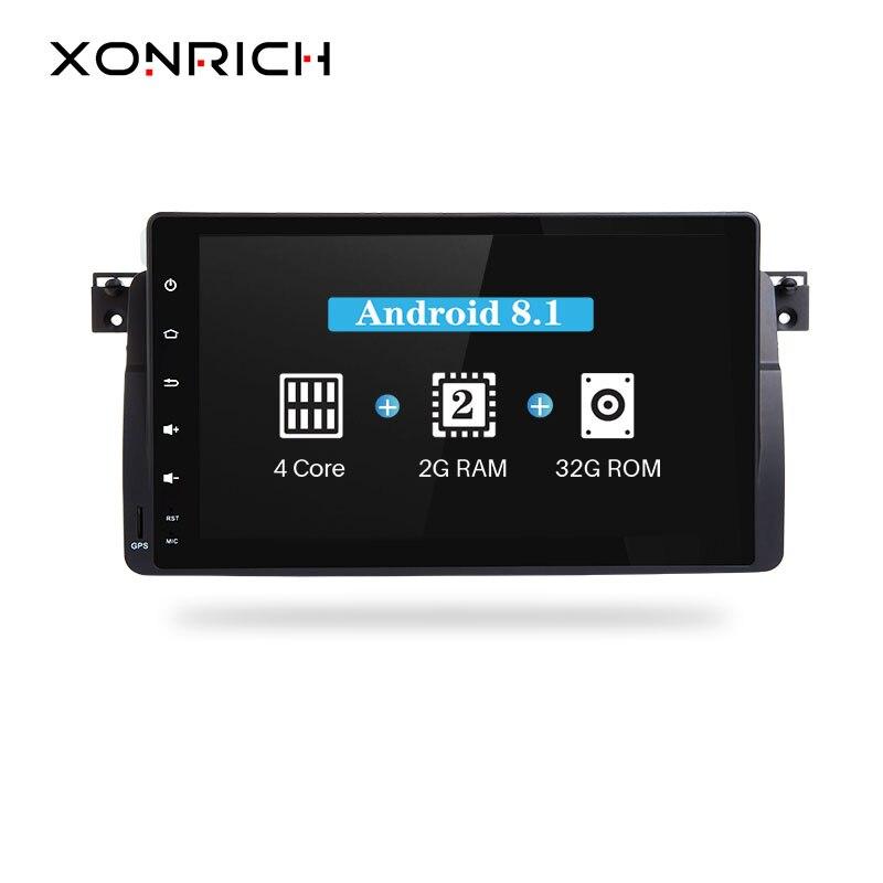 Xonrich AutoRadio Voiture Lecteur Multimédia 1 Din Android 8.1 Pour BMW E46 M3 Rover 75 318/320/325 /330/335 mg ZT Écran GPS Navigation
