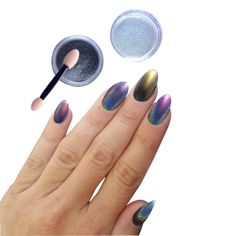все цены на  Hot! 5g Colorful Laser Mirror Powder Mermaid Rainbow Gradient Powder Dust Glitter Chrome Pigment Nail Sequins Nail Art Tools  онлайн