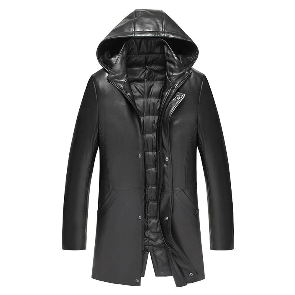 39d1a634f62 Promote Men Hooded Real Sheepskin Leather Genuine Duck Down Medium Long Jacket  Down Winter Men Clothing