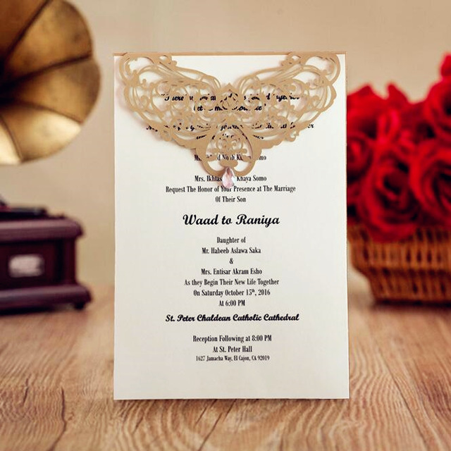 Gold Laser Cut Wedding Invitations With Rhinestone Menu Card