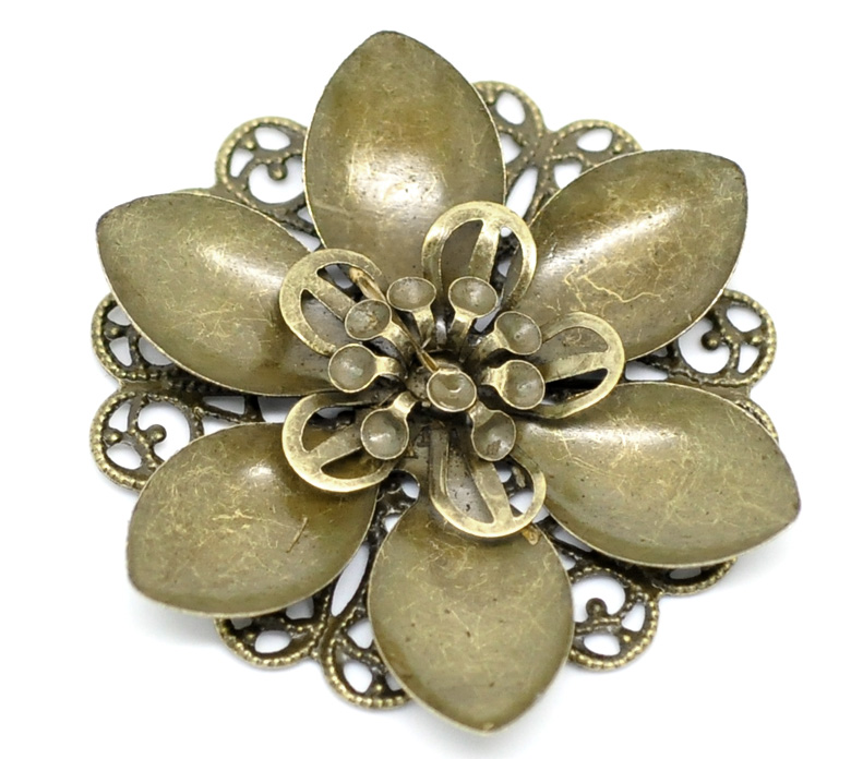 DoreenBeads Alloy Embellishments Findings Flower Antique Bronze Flower Hollow Pattern 4.5cm(1 6/8