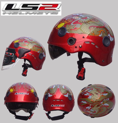 Free shipping LS2 OF101 motorcycle helmet half helmet wear and washable lining double mirror transparent red