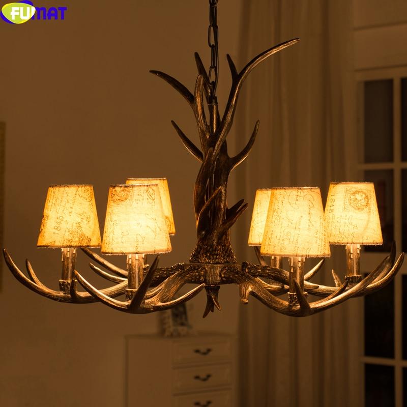 FUMAT 6 Heads Fabric Lampshade Antler Pendant Lights Indoor Lighting Fixture for Bedroom Dinning Room Metal Chain Hanging Light