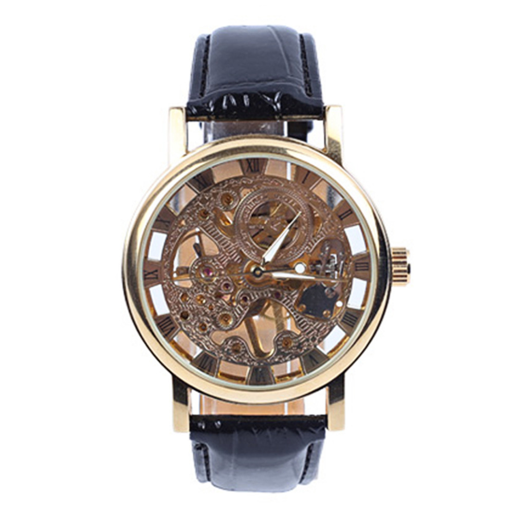 Men Mechanical Automatic Skeleton Watches Hollow Round Dial Faux Leather Strap Wrist Watch Clock Fashion Luxury Golden Watch holuns original luxury automatic mechanical watch golden big dial sapphire mirror hollow watch men casual retro leather watches