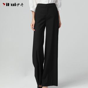Image 2 - Newest Office Ladies High Waist Full Length Straight Pants Women Trousers Pocket Zipper Fly Plus Size 4XL Black Soft Flat Pants