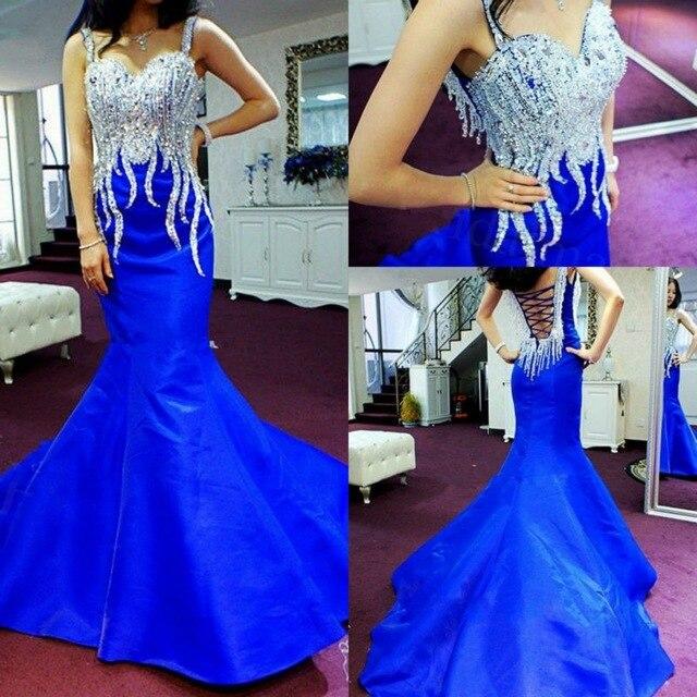Abendkleider 2019 nouveauté Bleu Royal Robe Sirène robe de soirée Mousseux Paillettes Perles Long prom party robe de soirée