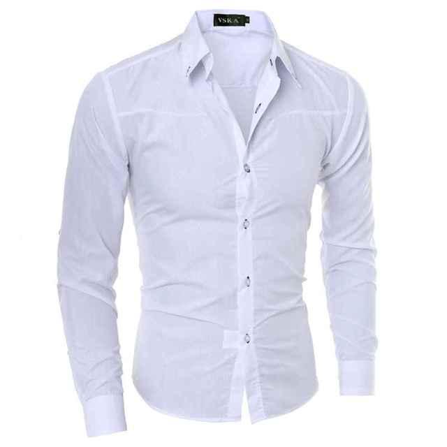 0a2ec93b04f Cotton White Long Sleeve Men Dress Shirts Moisture Wicking Big And Tall Fashion  Professional Mens Dress Shirts XXXL Men Clothes