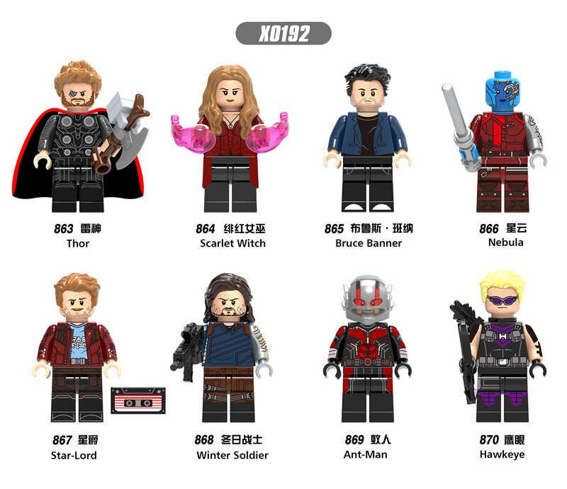 1 шт. LegoINGly Marvel муравей Мстители Капитан супер герой Железный человек Халк Черная пантера человек ОСА строительные блоки игрушки для детей набор