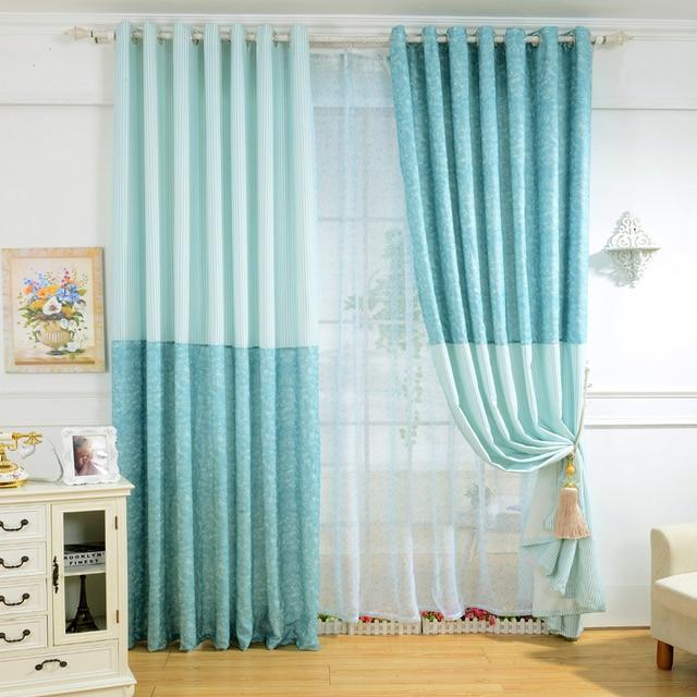 Voile Curtains Children Custom Solid Color Striped Design Blue Summer For Living Room