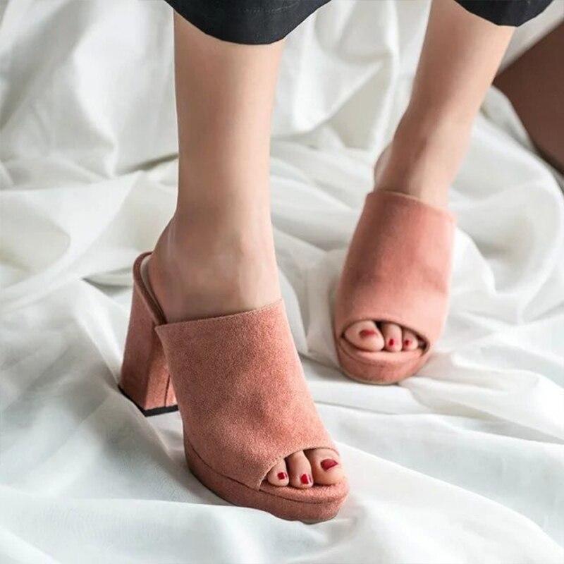 Chunky Casual Sandales Poissons Femmes Bouche Bloc Noir forme grey Troupeau Chaussures Haute Pantoufles Pompes pink Black Plate Femme Glisser Talons Hqfzo FwvZpq5xCn