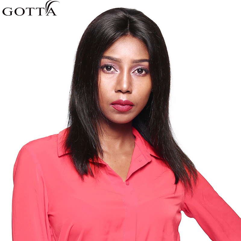 Gotta Hair Silk Straight Wig 14 Natural Color Wig 100% Human Hair Remy For Woman Straight Wigs Hair Extension Straight Hair
