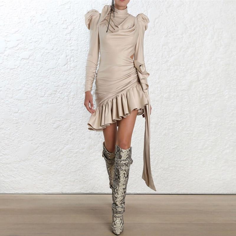 HIGH QUALITY New Fashion 2019 Designer Runway Dress Women s Long Sleeve Asymmetrical Dress