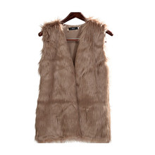 GOPLUS Women Brown Plus Size Faux Fur Vest Slim long fuax fur Coat women XXL Gilet Fourrure Rabbit Fur femme Vest Long Coat