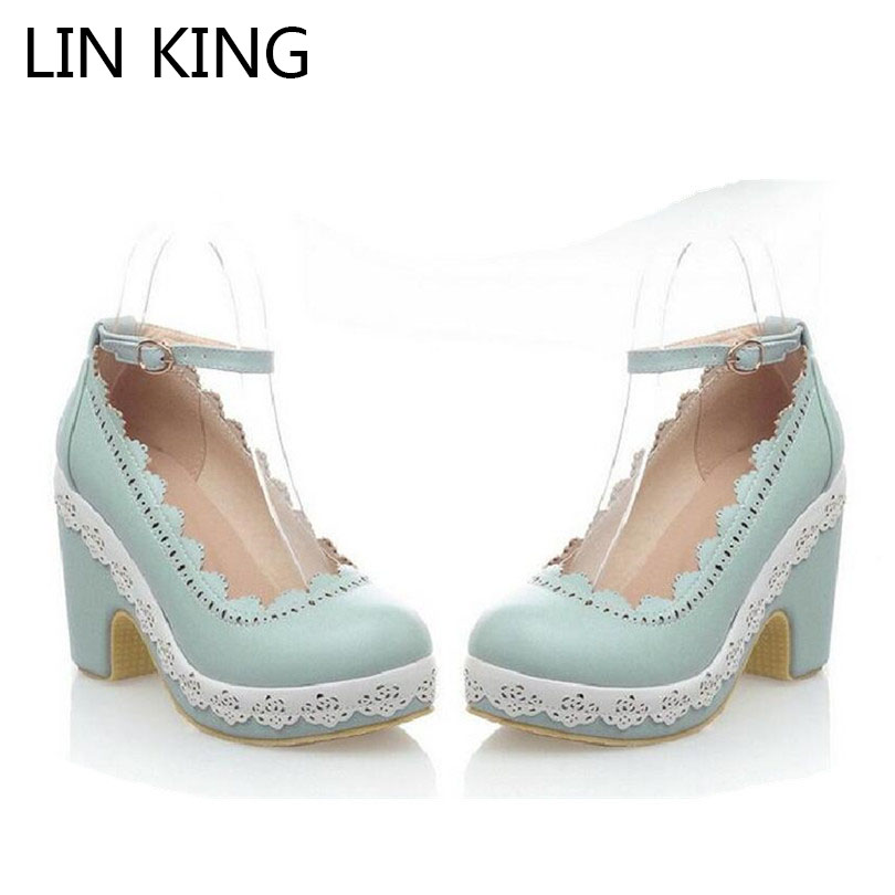 LIN KING Fashion PU Lolita Shoes Summer Women Shallow Mouth Ankle Straps Pumps Platform Square Heels