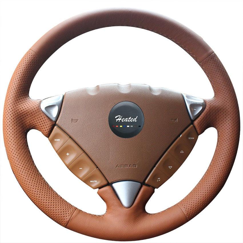Housse de volant de voiture en cuir Nappa pour Porsche Cayenne 2007-2010 tresse de style de voiture sur le volant