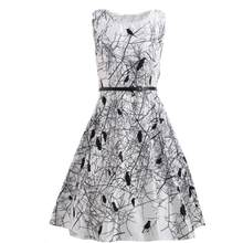 White Bird Retro Belt Ball Gown Mini Dress Women Sleeveless O Neck Party Dresses Slim Strapless Sundress Lady Short Dresses#30(China)