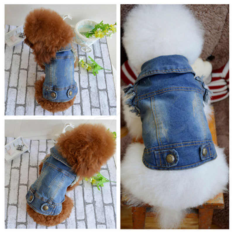 Dog Clothes Denim jacket Fashion Pet Clothes For  Teddy Dogs Cowboy Clothing Spring And Autumn Cat Coat-P101