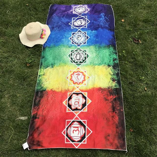 Better Quality Made Of Microfiber Bohemia India Mandala Blanket 7 Chakra Rainbow Tapestry Beach Towel Yoga Mat