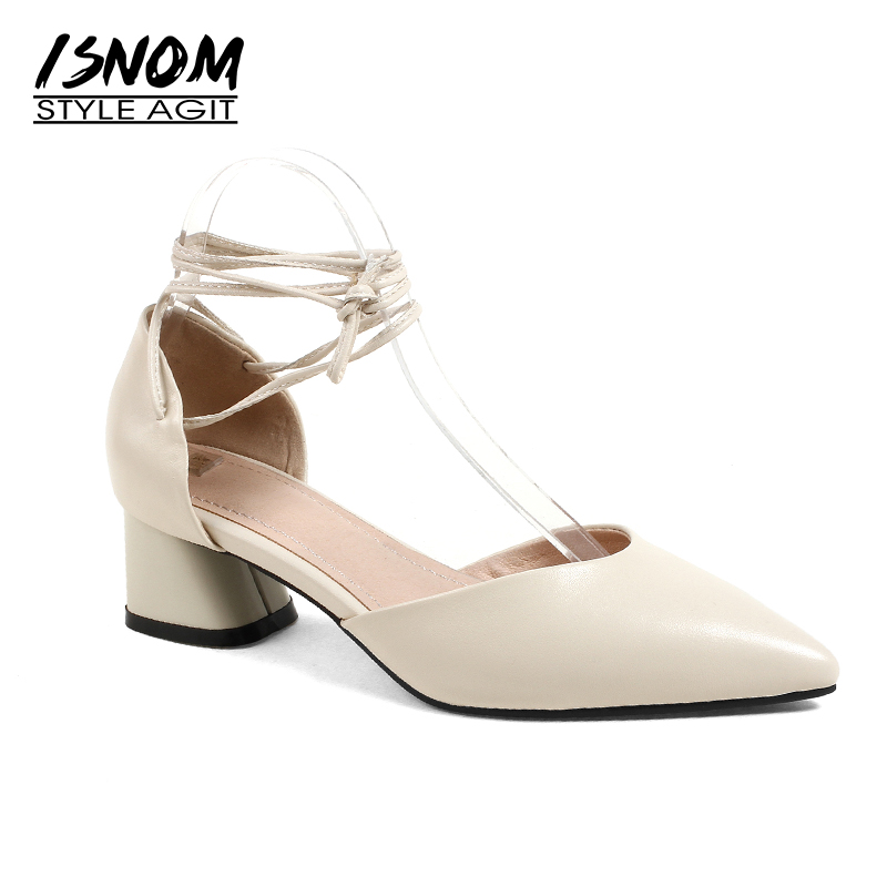 ISNOM Summer Thick Heels Sandals Women Genuine Leather Pointed Toe Footwear 2018 New Fashion Cross Strap Ladies Ballet Shoes women flats genuine leather shoes womens summer shoes pointed toe flats ladies cross elastic band footwear for pregnant women