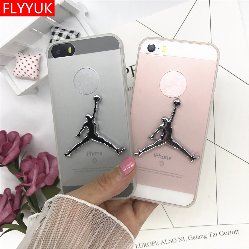 Fashion Metal 3D Michael Chicago Basketball Super <font><b>NBA</b></font> Jordan Candy Solid Color Transparent Soft TPU <font><b>Phone</b></font> <font><b>Case</b></font> for 5 5s Se Cover