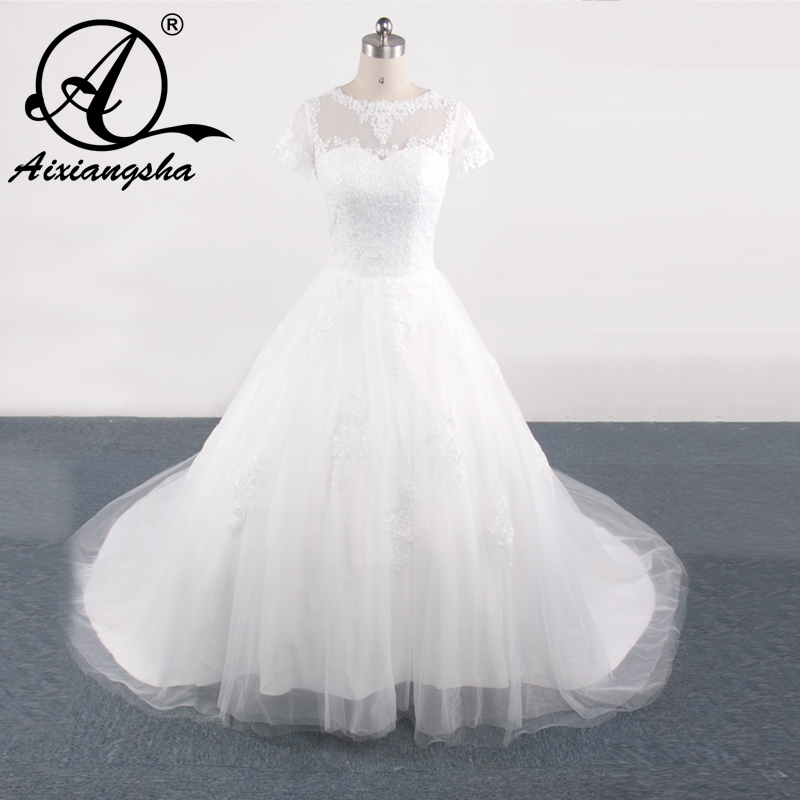 2018 Свадебные платья с Рубашка с короткими рукавами Свадебное бальное  платье Кружева Свадебные платья 4c5b81d2cf3