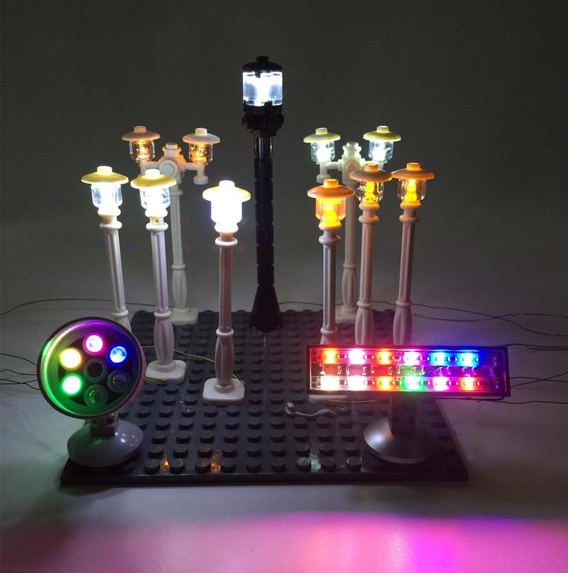 LED Lamp Post Street Light /spotlight / Traffic Light For Lego And City  Series Bricks/block Model