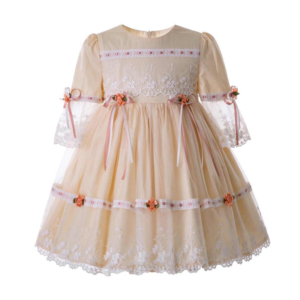 Pettigirl Rượu Sâm Banh Ren Cô Gái Váy Hiệp Thông Với Hoa Lưới Evening Gowns Đối Với Mùa Hè Đám Cưới Lễ Ăn Mặc G-DMGD112-C124