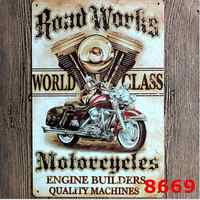 Road works Motorcycle metal painting wall stickers Restaurant Bar Pub Home Wall Decor Retro Art Poster 30x20cm