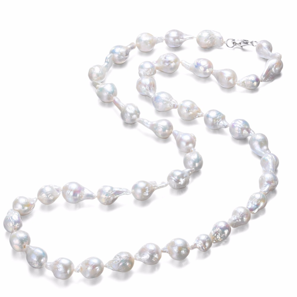 SNH 36inches baroque 11-12mm AA Real Freshwater Natural Pearl Necklace Women Fine Necklace Jewelry Pearl 925 Sterling Silver yikalaisi 2017 real freshwater natural pearl necklace women fine perfect round necklace 925 sterling silver pearl jewelry
