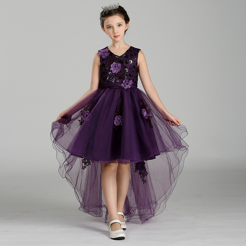 Retail Appliques Tassel Kid Girls Summer Evening Prom Trailing Dress With Belt Sequined Dot Tiered Girl Wedding Prom Dress T426