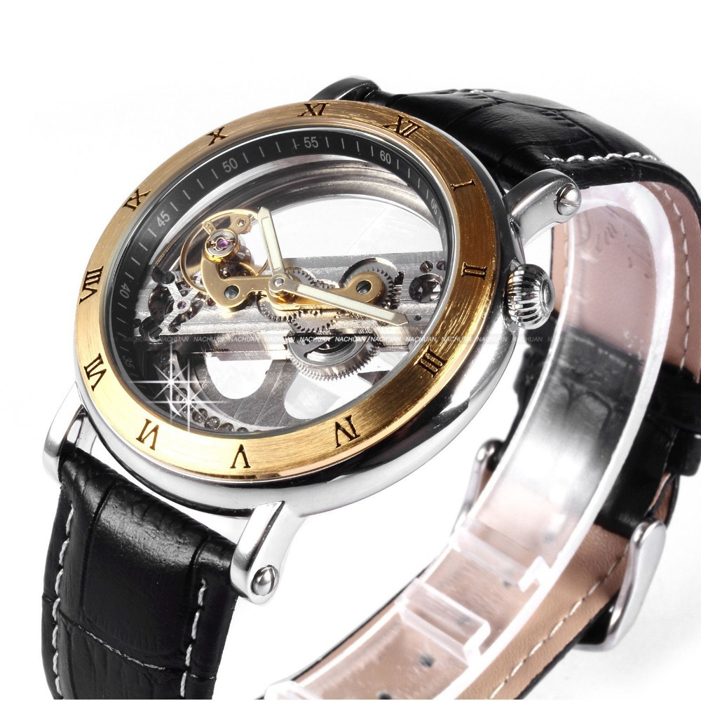 aliexpress com buy classic vintage luxury gold steampunk aliexpress com buy classic vintage luxury gold steampunk transparent skeleton men automatic mechanical black leather belt wrist dress watch pmw167 from