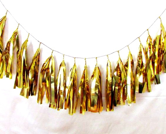 15pc Smooth and Shinny Gold Foil Tassel Garland Set Fringe Bunting Diy Garland Party Tassels Wedding Birthday Showers Decor