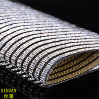 Factory Direct Sale 24x40cm Black And White Iron On Crystal Rhinestone Mesh Roll 3pieces Lot Diy