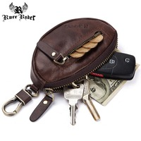 RUFF RYDER Genuine Leather Men's Car Key Bag Coin Purse Male Mini Zipper Soft Purses Small Money Holder For Men 2019 Hot Sale