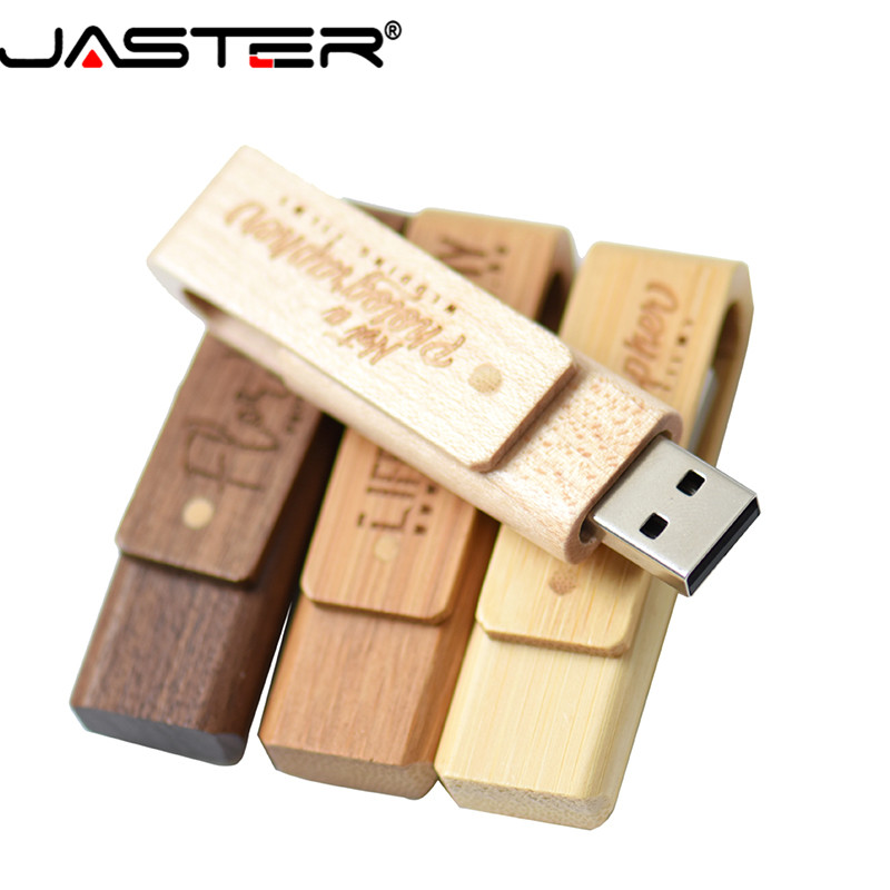 JASTER Wooden Rotatable Pendrive Usb Flash Drive 4GB 8GB 16GB 32GB 64GB Memory Stick Pen Holder Custom LOGO Wedding Gift