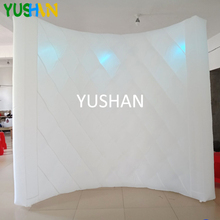 8ft  LED Inflatable Photo booth Wall Backdrop 3PCS bulb lights with Inner air Blower Portable wall stand For Christmas party