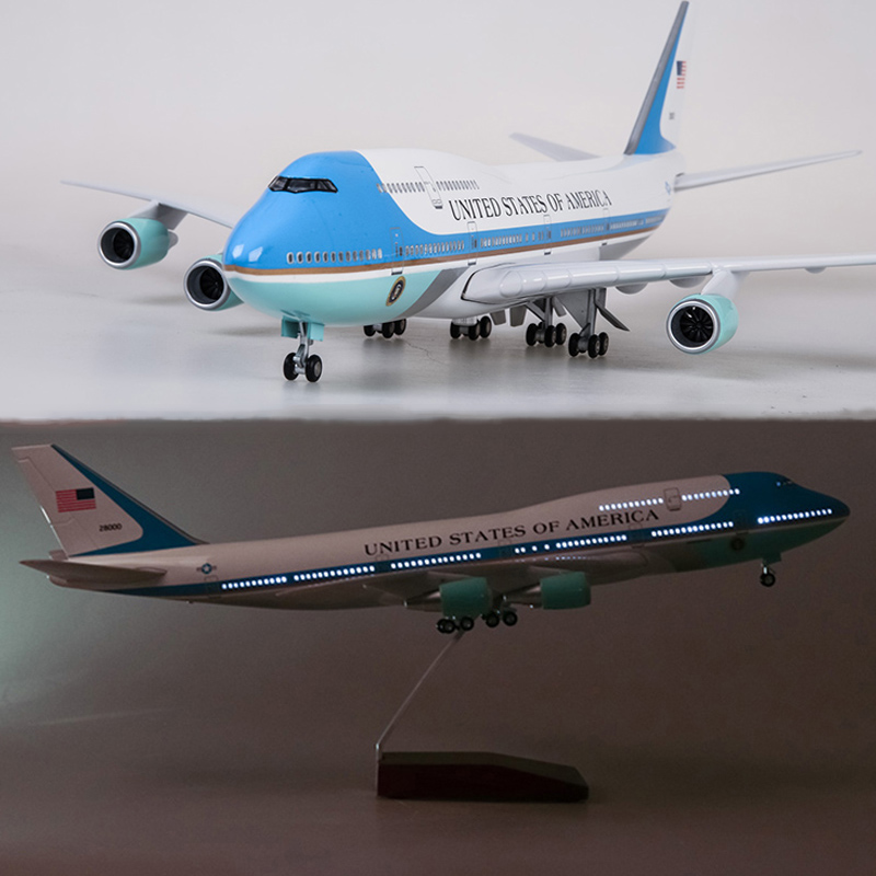 47CM 1 150 Scale Airplane Model Toys Boeing B747 Air Force One Aircraft Model with Light