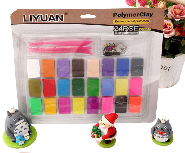 3 Tools+ Liyuan 24 Colors Oven Bake Polymer Clay Set DIY Fimo Modelling Moulding Kids Children Educational Toys