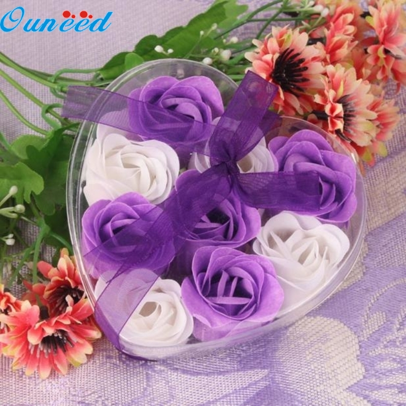 Ouneed Happy Home 9Pcs Body Soap Wedding Party Gift Scented Rose Flower Petal Bath Body Soap кашпо gift n home сирень
