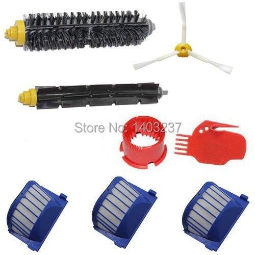Aero Vac Filter Bristle Brush Flexible Beater Brush 3-Armed Side Brush Tool for iRobot Roomba 600 Series (620 630 650 660)