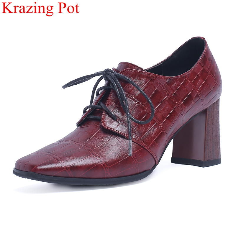 купить 2018 new arrival cow leather lace up square heel women pumps square toe mature high heels office lady runway big size shoes L0f4 по цене 3589.59 рублей