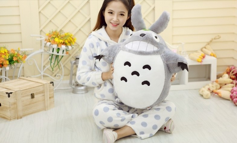 new plush lovely Totoro toy stuffed laughing expression totoro doll gift about 80cm 0355 middle lovely plush high quality seal toy cute white seal doll gift about 35cm