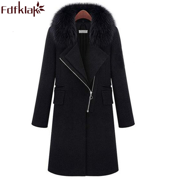 New 2017 Hot Sale Winter Cashmere Coat Women Warm Wool Coats Plus Size Black Ladies Woolen Coats Female Outerwear S-XXXL Q351 hot sale creative style s size women s hair tool