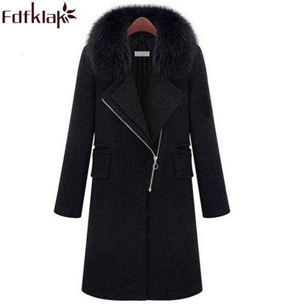 New 2017 Hot Sale Winter Cashmere Coat Women Warm Wool Coats Plus Size Black Ladies Woolen Coats Female Outerwear S XXXL Q351