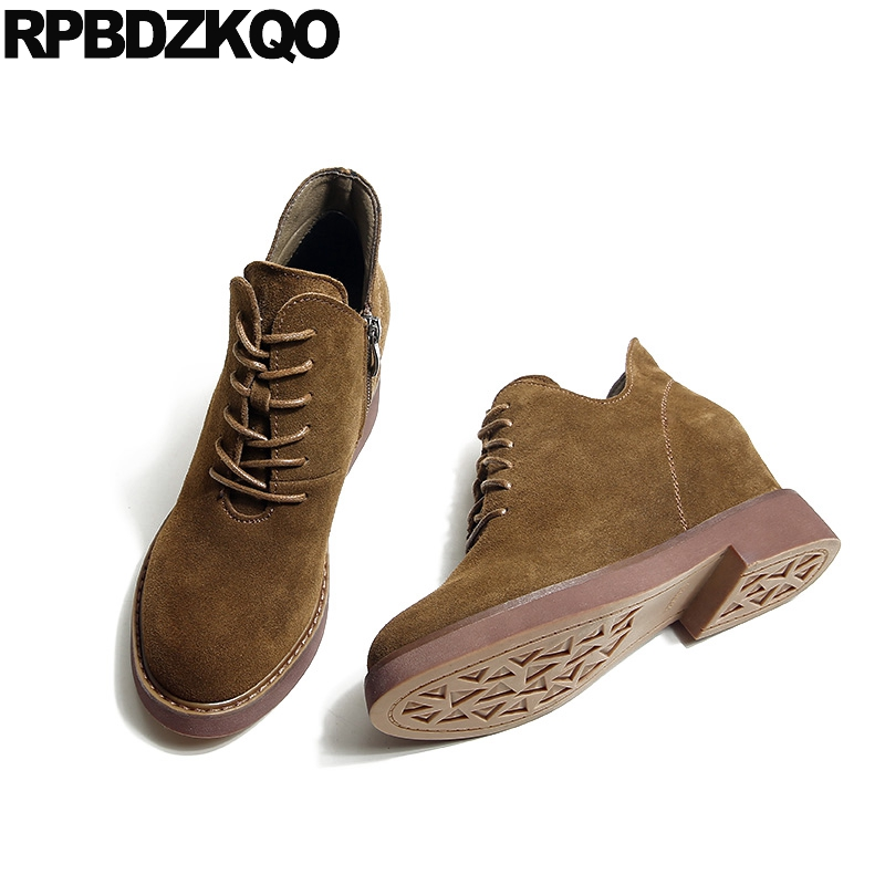 Short Suede Ladies Front Lace Up Casual Ankle Boots Autumn Brown Booties Round Toe Shoes 2017 Chinese New Fashion Female