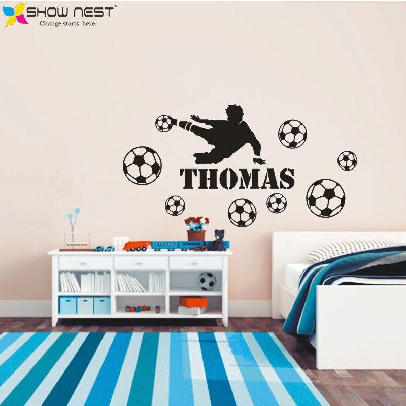 Football Player And Custom Kids Name Bedroom Wall As
