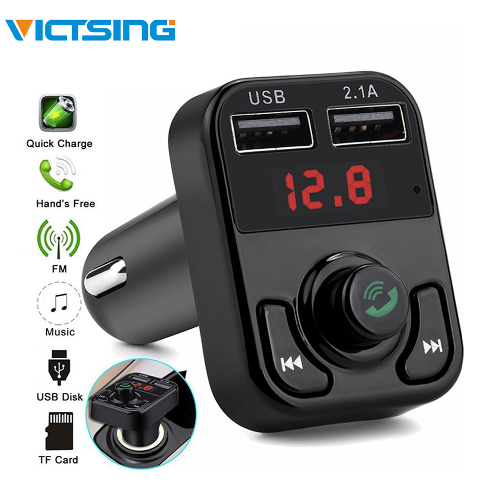 VicTsing Bluetooth MP3 Player FM Transmitter Handsfree Wireless Radio Adapter USB Car Charger 2 1A MP3 Player SD Music Playing in Car MP3 Players from Automobiles Motorcycles