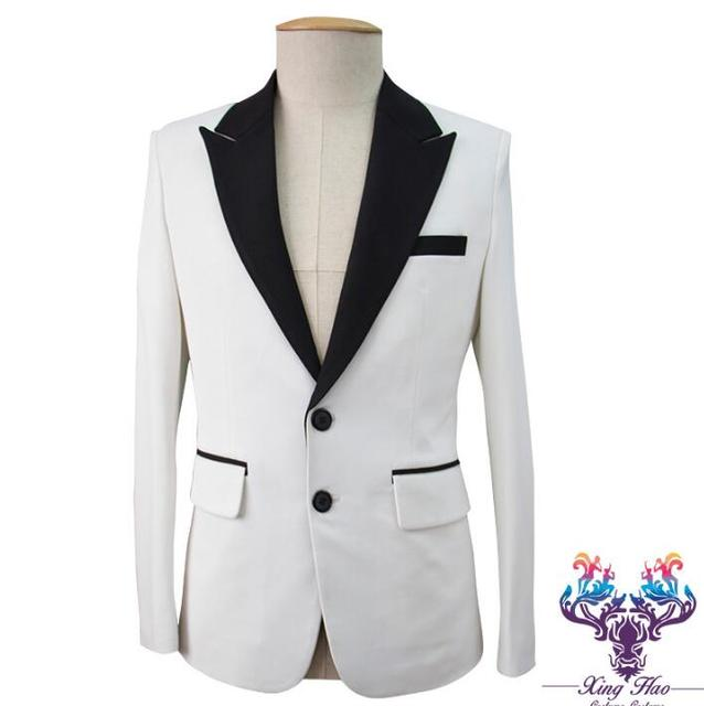 Men Slim Suits Designs Multi Color Stitching Costumes For Singers
