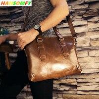 100% натуральная кожа Для мужчин бизнес Официальный сумки сечение Портфели 14 ноутбук Посланник Ретро дорожные сумки